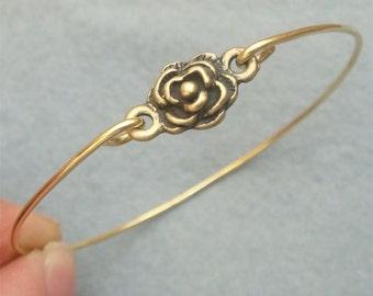 Flower Brass Bangle Bracelet Style 7