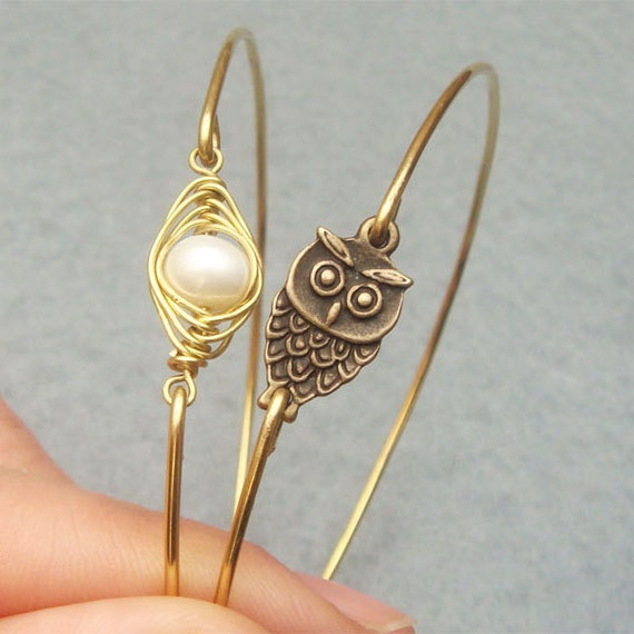 Pearl Bean and Owl Bangle 2 Bracelet Set