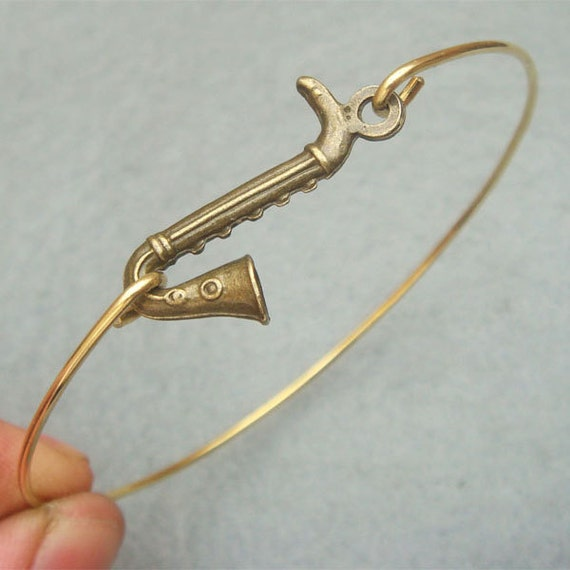 Saxophone Bangle Bracelet