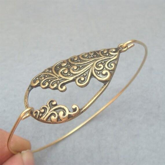 Flower Brass Bangle Bracelet Style 10