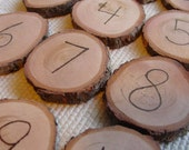 Preschool number cards 0-10 -  wood burned hemlock rounds
