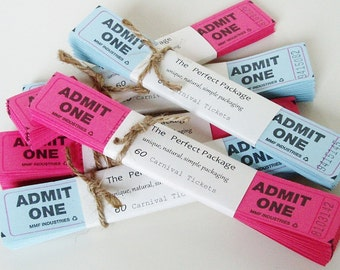 Carnival Ticket Raffle 60 Your Color Choice pink or blue