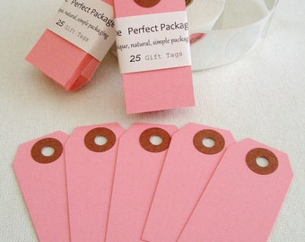 Pink Gift Tags Hang Tags Pink Party Decor Mini Tags Colored tags Gift Tags set of 25