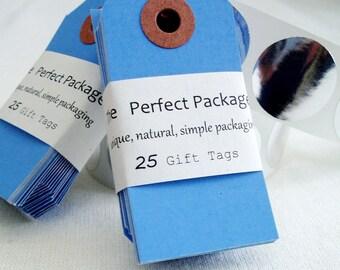 Blue Gift Tags Blue Hang Tags Cute Tags Mini Tags Retail Tags Set of 25 Manila