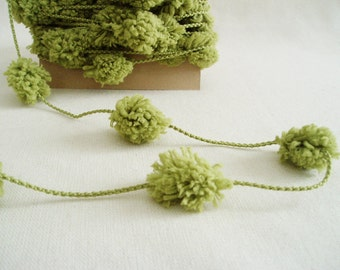 Green Garland Pom Pom Garland Pompom Garland Moss Green String Yarn Trim 6 Yards