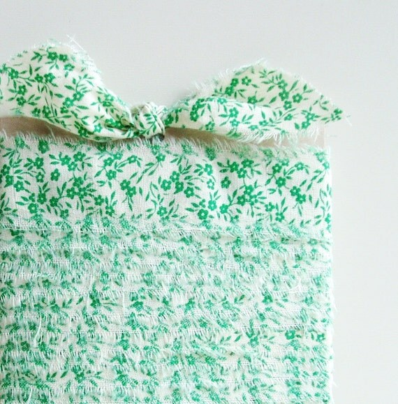 Fabric Ribbon Green Floral Hand Stripped 3 Yards