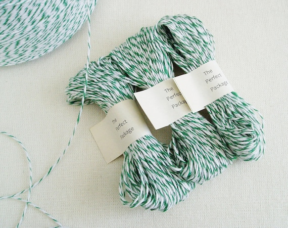 Green Bakers Twine Green and White 25 Yards Striped Twine decorative string