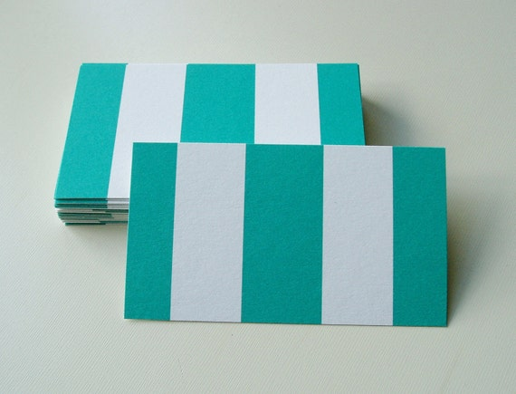 Business Cards Hand Cut Teal and White Awning Stripes Cardstock Set of 36 Free Shipping
