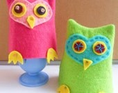 Green & Blue Owl Egg Cosy - Girl, Boy Toddler, Gift, Present, Toddler, Novelty Kitchenware Item