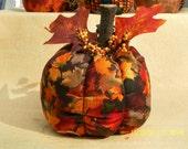 Rustic Harvest Fall Fabric Pumpkin - large