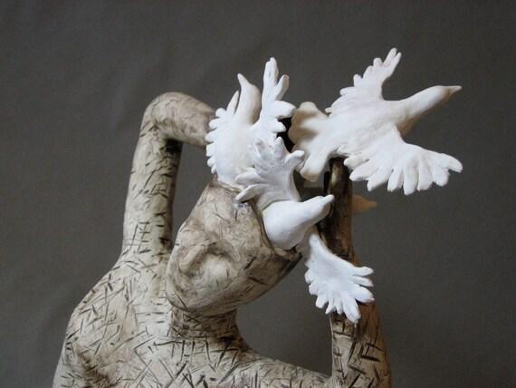 "Woman Female Swirling White Birds Doves Flying Flight Ceramic Sculpture ""Bird Lady"""