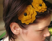 black felt flowers on metal headband