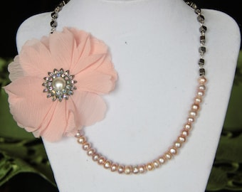 Romantic, Faux Pink Pearl and Beaded Necklace with Flower