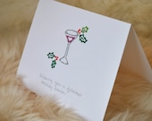 Set of 4 Fabulous Christmas Martini Notecards (can be personalized)