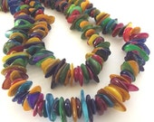 """Mother-of-Pearl Multicolored Beads - Large Chips - 15"""" Strand"""