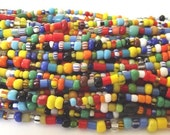 """RESERVED FOR COLLEEN - 8 Strands - Colorful African Christmas Beads , Mixed Assortment of Glass Beads, Medium sized beads - 32"""" strand"""