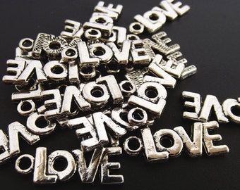 Antique Silver Plated LOVE charm - Pkg of 5