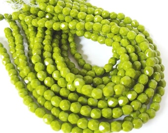50 Opaque Olive Faceted Firepolished 4mm Czech Glass Beads