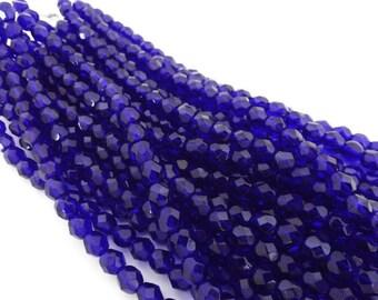 Czech Beads, Cobalt Faceted Firepolished 6mm Beads - 25 beads