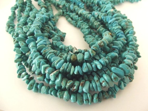"Turquoise Magnesite Small Chip Beads - 30"" Total (Two - 15"" Strands)"