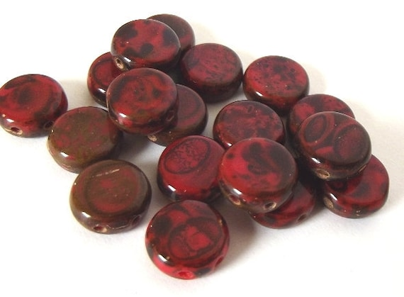 Czech Glass Beads, Red Sangria 8mm Flat Coin Beads - Double Drilled - 20 beads