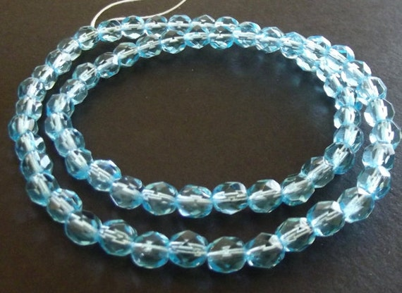 "Czech Glass Beads, Light Turquoise Blue, Fire-Polished Faceted 6mm Round - 16"" Strand"