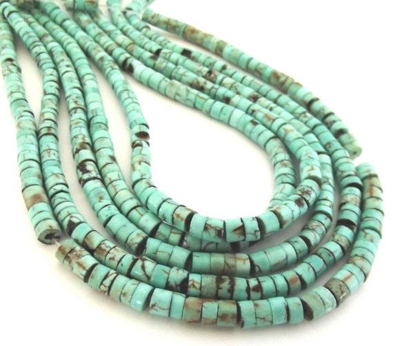 "Turquoise Magnesite Heishe (or Heishi)  4x2mm - 5x3mm Beads - 15"" Strand"