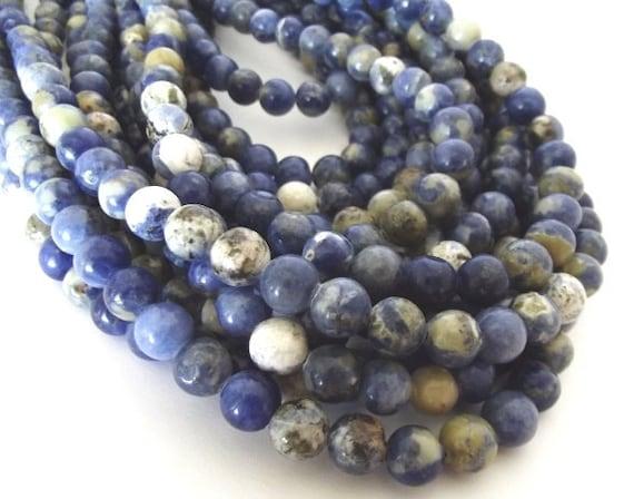 "RESERVED - Blue Sodalite 8mm Round Gemstone Beads - 15"" Strand"