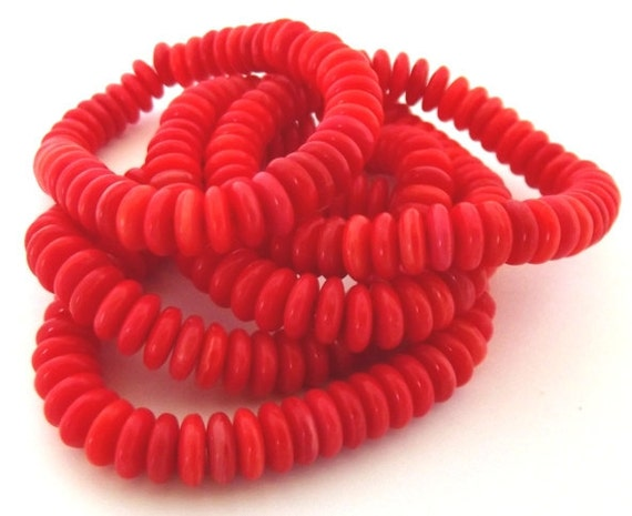 Czech Glass Beads Red Disc 5x2mm - 50 beads