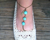 feather and turquoise anklet, unique anklet, ankle bracelet, turquoise jewelry, turquoise accessory