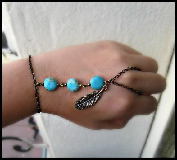 turquoise and tribal feather slave bracelet, feather bracelet, bird bracelet, turquoise bracelet, vintage stlye bracelet