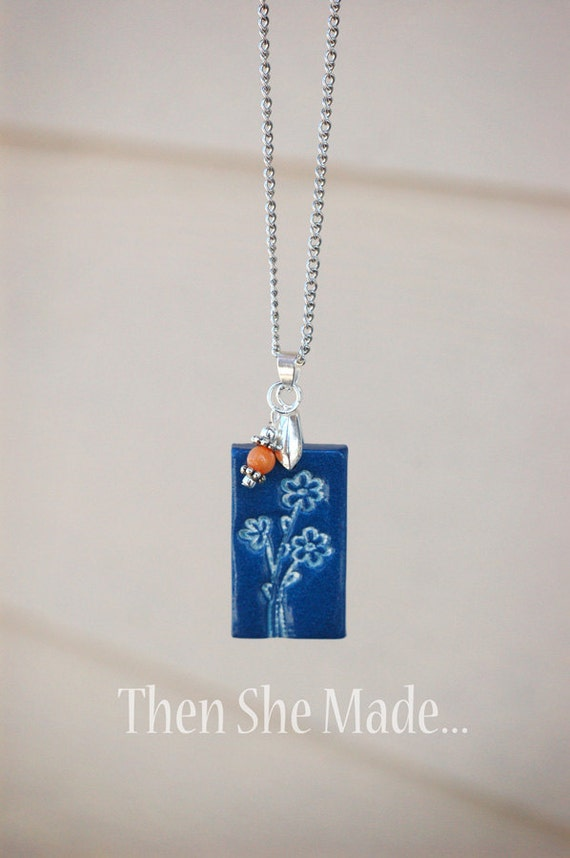 Blue Floral Pendant Necklace