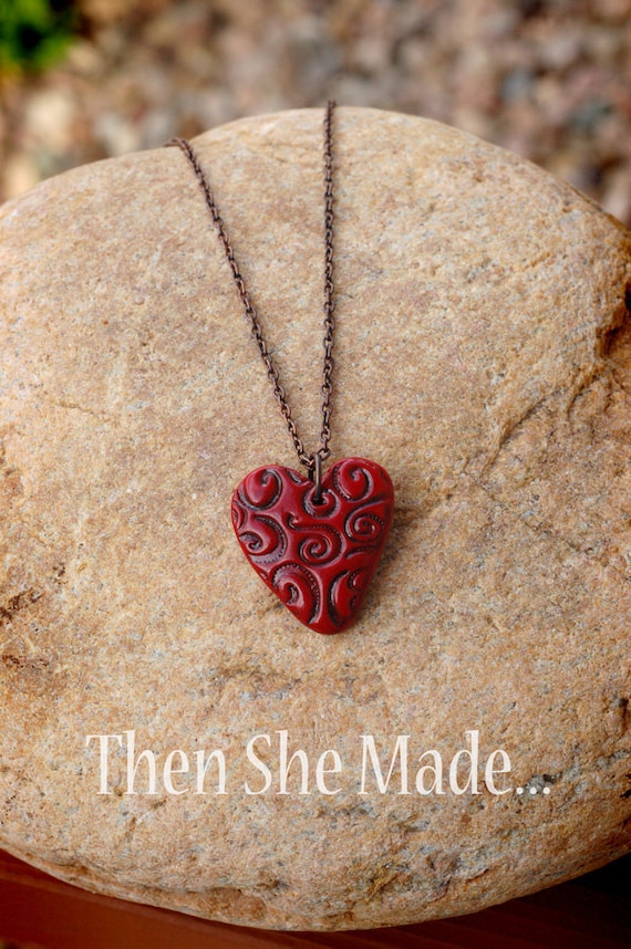 Red Swirl Heart Pendant Necklace