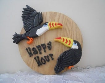 Happy Hour wall hanging, Home Decor, Wooden, Segmentation, Tucans