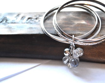 SALE Multi Silver Bangle Bracelet with bead cluster-silver, clear, crystal, white. Everyday. Christmas gift. teen girl. women