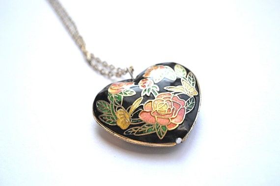 Heart Locket Necklace- Delicate Flowers and Golden Butterflies-Oriental- Vintage-Bohemian