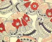 Indigo Skull Fabric  by Alexander Henry