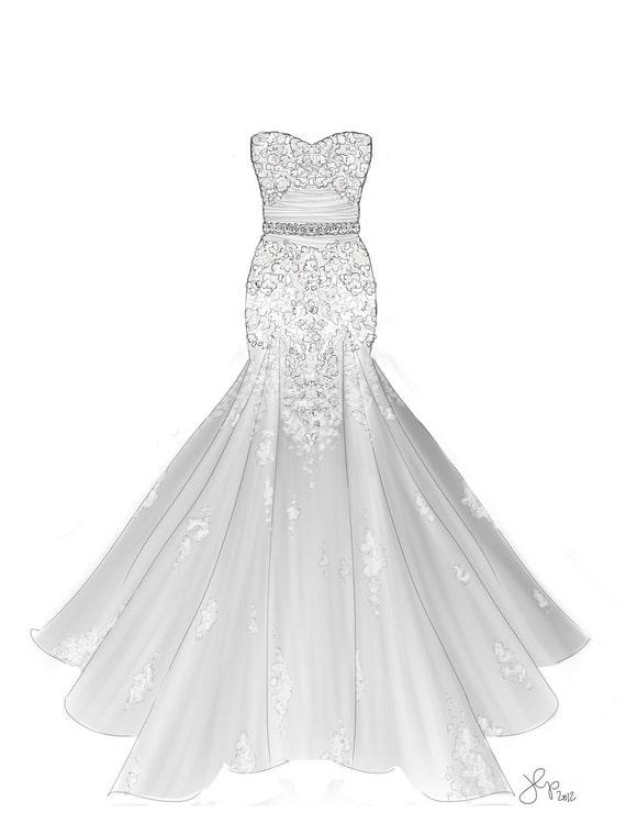 Custom Dress Sketch/ Custom Bridal Illustration (Single Pose)