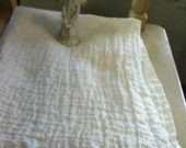 Linen Blanket WHITE MIST--Picnic Blanket--Vintagelook Throw--for Rustic or Beach Cottage Home Decor