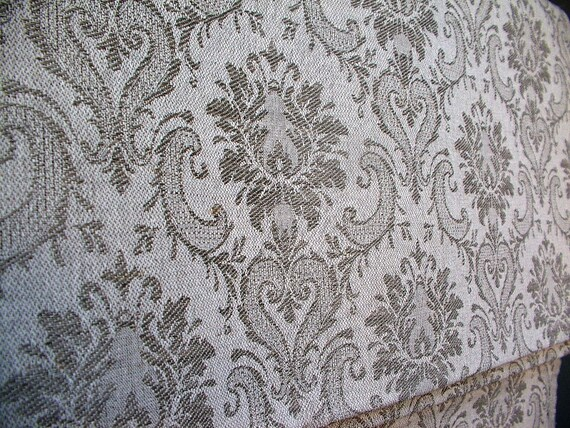 Linen Damask Upholstery Doubleface Fabric--Linen/Cotton Natural--FRENCH-style pattern--for Curtains, Bags, Furniture, Coats, Tablecloth--DIY