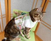 Quilted Patchwork Cat Harness, Reversible  Pet Vest,  Pink Green Harlequin Teacup Dog Clothes
