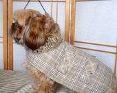 Plaid Wool Pet  Coat, Medium Clothing,  Sherpa  Dog Jacket,  Reversible, Brown Cream Knit Collar