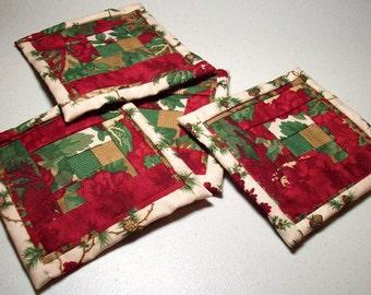 """4.5"""" Log Cabin Quilt Block Fabric Indoor/Outdoor/Picnic Coasters/Mug Mats - 4 piece set"""