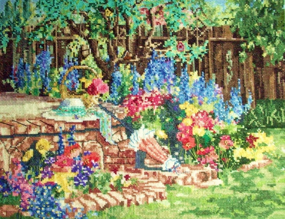 Marty Bell My Garden Completed Cross Stitch Picture