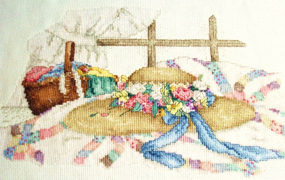 Spring Bonnet Completed Cross Stitch Picture