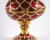Faberge Style Egg Red with Gold Lattice