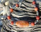 7 inch .925 STERLING SILVER/ Dyed Fire Agate Bracelet B66 (free shipping)