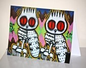 Blank Photo Card - Glossy Finish (147mm x 106mm) - Street Art Owls