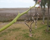 RESERVED FOR PATTI Miss Chichi's Mama  Wonky Love wire wrapped Heart shaped shabby chic earrings