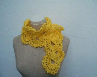 Sunshine Yellow Scarf Hand Crocheted